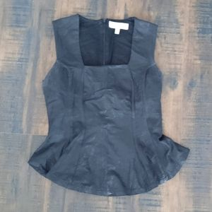 Peplum top distress leather look